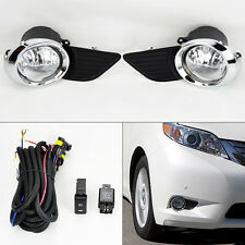 Bumper Chrome Fog Lights Kit & Wiring Switch Pair RH LH for Toyota Sienna 11-15