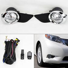 Toyota Sienna 2011-2015 Bumper Chrome Fog Lights Kit & Wiring Switch Pair RH LH