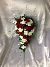 ARTIFICIAL FLOWER IVORY/BURGUNDY FOAM ROSE BRIDE WEDDING SHOWER TEARDROP BOUQUET