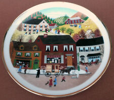 Collector Plate 8.5in Seasons Fall Autumn Town Scene Milkman Homes M Calzette