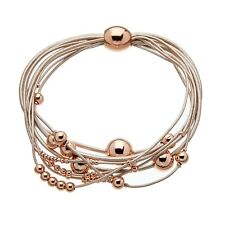 Magnetic Bracelet with pink leather strands and sliding rose gold beads - Ruth P