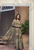 Indian Pakistani Salwar Kameez Suit Dress Party Wedding Designer Grey Antique