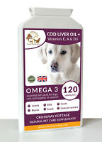 Cod Liver Oil + Vitamin E A & D3 High Strength for Dogs & Cats 1000mg 120 Gels