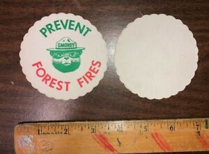 1 Vintage Original SMOKEY THE BEAR PAPER Coaster Unused 1960s NOS Forest Fires