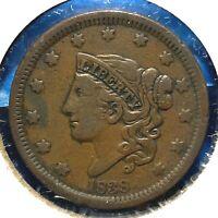 1838 1C Coronet Head Cent (60353)