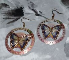 "STUNNING MULTI-COLOR COPPER PAINTING BUTTERFLY EARRINGS 1-3/4"" DIAMETER"