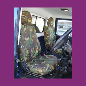 Land Rover Defender 2007-2015 Green Camo Waterproof Tailored Front Seat Covers