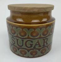 Vintage Hornsea Pottery Bronte Mid-Century Small Storage Jar Labelled Sugar VGC