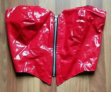 LIP SERVICE red vinyl bustier M wet look strapless pvc fetish club costume top