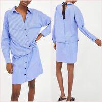 SALE Blue Striped Long Sleeve Shirt Dress Size XS S UK 6 8 US 2 4 Blogger ❤
