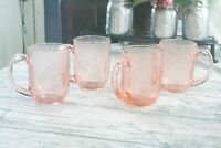 Set OF 4 PINK ROSE~ ARCOROC FRANCE COFFEE CUP~ROSALINE MUG FRENCH GLASS