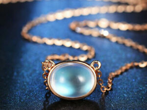 Rose Gold Moonstone Opal 925 Sterling Silver Chain Necklace Women Jewellery Gift