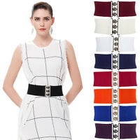 Cheap~Women Elastic Buckle Wide Waistband Corset Stretch Slim Waist Belt Fashion