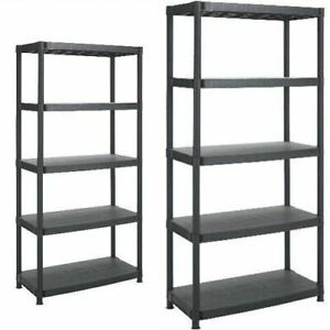 5 or 4 Tier Plastic Shelf Shelving Shelves Rack Racking Home Storage Unit Black