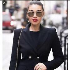 NWT Zara Blue Blogger Military Double Breast Jacket Coat Medium M