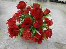 künstliche Blumen  pflanzen  Blumen Dekoartike Grabgesteck  Rosen Hortensien rot