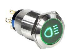 19mm Marine Grade Stainless Steel Push Button Green Led Car Fog Light Switch Usa