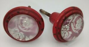 23.  2 Red/White Flower Glass Drawer/Cabinet Knobs Vintage Hardware