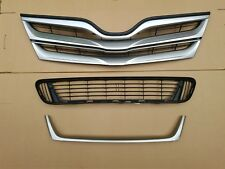 fits 2013-2016 VENZA Front Bumper Upper & Lower Grille w Silver Molding SET 3PC