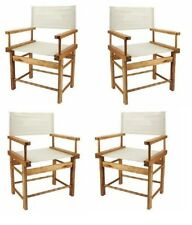 4 Joblot Canvas Seat & Back Panel Wooden Small Directors Chair Boxed