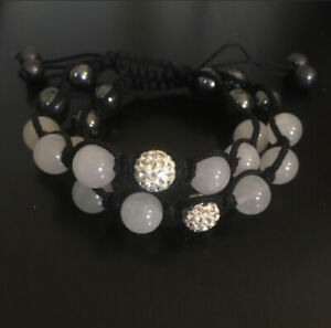 NWOT Gray/Black/ Crystal Mix Shamballa Bracelet Double