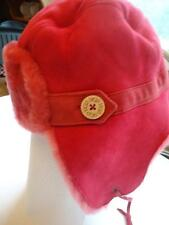 UGG Aviator Shearling Sheepskin Hat O/S Crimson-SEE DESCRIPTION FOR PIcs