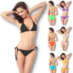 Triangel Bikini Damen Zweiteiler Schnürung High Waist Neckholder S M L
