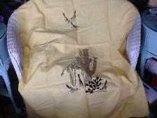 Vintage 2 YARD Fabric HARWOOD STEIGER  Yellow Southwestern Cactus Mid Century