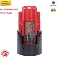 New 12V 3.0Ah Li-ion Battery for Milwaukee M12 48-11-2420 48-11-2411 Power Tools