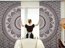 Indian Black White Omber Mandala Balcony Curtains Door Window Curtain 2 Valances
