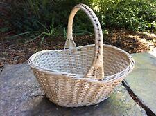 Vintage Shabby Chic Chippy White Wicker Garden Gathering Farmhouse Basket Large