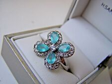 AMAZING STERLING SILVER APATITE WHITE TOPAZ RING SIZE P UNUSUAL GREAT COLOUR