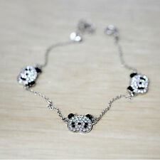 Trendy Sliver Panda Bracelet Rhinestone Bangle Jewelry (three bears) Accessories