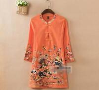 Women Chic Retro Linen Mandarin Embroidered 3/4 Sleeve Tunic Top Blouse Shirt cn