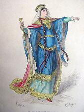 """COSTUME DE PARIS gravure coloriée """" Reine Mérovingienne en 480 """""""