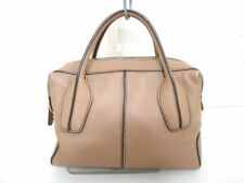 Auth TOD'S D-Bag Beige Leather Handbag w/ Shoulder Strap