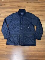 Ralph Lauren Polo Mens Quilted Jacket Size XL Navy Zip Lined Button Hunting Coat