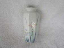 Otagiri Hand Painted Vase Floral Lite made in Japan Vintage Iris Flower~Lovely