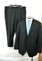 Peter Millar Mens Black 2 Piece Suit Wool Button Front Pockets Professional 46R