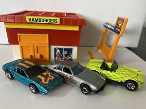 Hot Wheels Ferrari 308 Racebait, Jaguar XJS, Shelby Cobra 427 s/c Vintage Lot