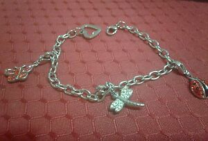 """CHARM BRACELET WITH 3 REMOVABLE CHARMS -FITS 5"""" TO 8"""""""