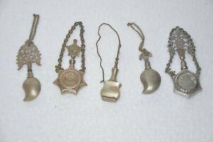 5 Pc Old Brass Different Handcrafted Black Eye Cut Work Lids Powder Bottles