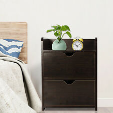 2 Drawer Wooden Bedside Table Cabinet Bedroom Furniture Storage Nightstand.