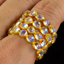 18k Solid Yellow Gold Blue Flash Moonstone Eternity Ring SIZE 5.5