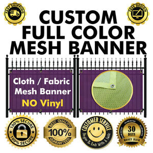 CUSTOM FABRIC CLOTH MESH (NO VINYL/FLEX) FENCE 4 X 6 FT BANNER SIGN FLAG 210 GSM