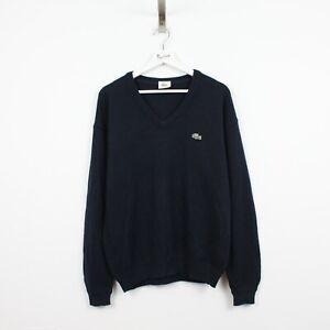 AD48 Lacoste Men Navy BlueV-neck Jumper Sweater New Wool Knit Size 4 M