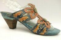 Spring Step Carlina Multi Color Slide Pump Heel Sandals Women's 37 / 6.5 - 7