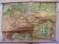 große Schulwandkarte Deutsches Reich Alpengebiet 204x144 ~1920 vintage wall map