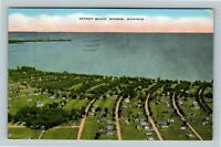 Monroe MI, Aerial View Of Detroit Beach, Linen Michigan c1949 Postcard