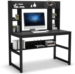 Computer Desk with Hutch, 47 Inch Modern Writing Desk with Storage Shelves